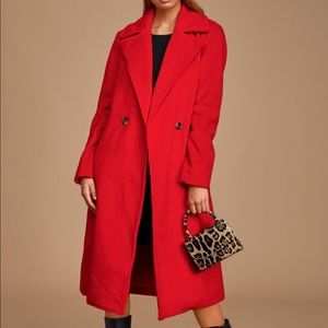 Red Brushed Wool Coat